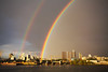 rain arc (n.a.) Tags: partial double rainbow greenwich peninsula london sunset river thames gas tanker emirates airline tower blocks construction cranes morden wharf