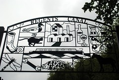 Regents Canal sign (zawtowers) Tags: jubilee greenway section 2 walk saturday 28th april 2018 cloudy damp littlevenicetocamdenlock regents canal amble stroll walking exploring london urban lisson grove moorings boat barge residential community metal sign outline artwork