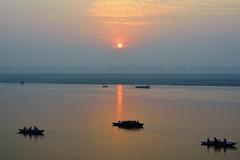 Subah Banaras.Morning at Benares. (draskd) Tags: benares varanasi boatride ganges ganga sunrise river landscape serene sky water mist subahbanaras boat morning silhouettes godoliya mirghat