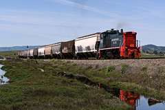 Up to Brazos (caltrain927) Tags: nwp northwestern pacific railroad mixed freight empty grain train emd mp15 mp15dc 1501 california ca napa brazos