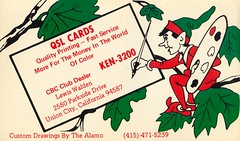 The Alamo: QSL Cards by The Alamo - Union City, California (73sand88s by Cardboard America) Tags: qsl qslcard cbradio cb vintage california thealamo elf artistcard