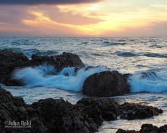Pacific Sunset, Asilomar Beach, Pacific Grove, California  (30444-46) (John Bald) Tags: asilomar asilomarbeach bigsur california pacificgrove clouds coastal crashingwave environment golden horizon ocean rocks scenery shore sunset water waves seascape