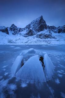 Frozen fjord, Lofoten Islands