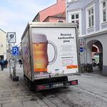 Budweiser Budvar Beer tank delivery truck, České Budějovice, South Bohemia, Czech Republic thumbnail