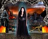 Goddess Hades (Davien Orion) Tags: photomanipulation photoshopelements conceptualphotography composite goddess greekgod greekgoddess greekmythology greek grecian black hades underworld hell fire charon cerberus dead death blackdress woman model mythology explore