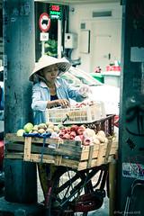 Fruit seller - Hanoi (yarns101) Tags: street lady fruit vegetables bicycle
