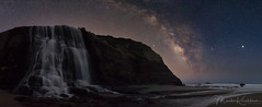 Star Fall - Milky Way over Alamere Falls (Marsha Kirschbaum) Tags: california sonyarii landscape alamerefalls ©marshakirschbaum pointreyesnationalseashore wildcatcamp seascape waterfall oceanscape milkyway pacificcoast jupiter