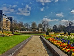Queens Gardens, Hull City Centre!🌞🌻😀 (LeanneHall3 :-)) Tags: queensgardens hullcitycentre green grass tulips daffodils fountain kingstonuponhull blue sky skyscape white clouds cloudsstormssunsetssunrises landscape samsung galaxy trees branches