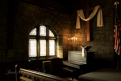 Bramwell Presbyterian Church (jmhutnik) Tags: church bramwell wv westvirginia window cross piano flag candles bible brick lowlight historic