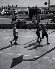 Shot! (Stu G2006) Tags: olympus epl1 brighton basketball shoot ball beach street black white monochrome