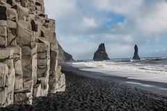 Iceland Reynifjara (Nico Manjot) Tags: rocher bleu sable noir écume