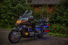 GoldWing SE 1500 with blue LED lights (Peter's HDR-Studio) Tags: petershdrstudio hdr motorbike motorrad honda goldwing ledlight night