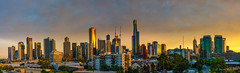 Golden Melbourne morning (NettyA) Tags: australia melbourne southbank victoria buildings city clouds light panorama skyline sunrise goldenlight cityscape