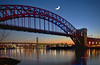 Hell Gate Bridge (NYC sharpshooter) Tags: city skyline york america architecture urban manhattan usa new cityscape skyscraper downtown landmark aerial sunset view building midtown scene tower sky nyc street travel office high business exterior empire state dusk district ny famous metropolis tall twilight financial newyork river panorama american panoramic contemporary traffic roof tourism night metropolitan avenue sunsets bronx queens big apple