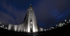 3.2.1 Lift off (Trigger1980) Tags: iceland reykjavík church hallgrímskirkja 1945 nikon nikond7000 nite night national d7000 dark digital fisheye catholic landakot guðjón samúelssons observation tower