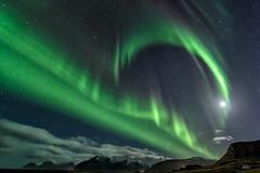Iceland Aurora Borealis (Kim Nordby Photography) Tags: northernlights auroraborealis iceland bigsky dancinglights greensky clouds mountains nightsky night stars moon moonstar