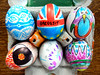 Our egg-stravagent designs (Shamus O'Reilly) Tags: vale street easter eggrolling competition totterdown bristol hard boiled eggs novel fun colourful design drawing brexit eye pattern puns