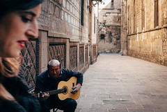 Gothic quarter (V Photography and Art) Tags: street candid music vsco barcelona spain gothicquater people walls stone buidings