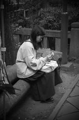 (mblaeck) Tags: tokyo travel japan japanese person lady drawing persondrawing ladydrawing blackandwhite bw monochrome