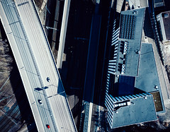 system of transport (miemo) Tags: dji mavic mavicpro pasila abstract aerial architecture building car city drone europe finland helsinki highway road shadows spring street topdown traffic urban uusimaa fi railroad track