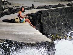 Songs by the sea (thomasgorman1) Tags: troubador musician street shore seawall woman guitar coast hawaii streetphotos smiling candid beach island waves crashing pacific ocean kona kahaluu canon