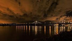 Uerdinger Brücke am Abend ...  in Krefeld mit Hafenbecken (gabrieleskwar) Tags: outdoor brücke spiegelung rhein wasser lichter leuchten krefeld niederrhein nrwgermany abends architektur wolken himmel