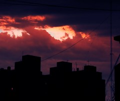 Cold fire (Fruits Fluid) Tags: sunset sky city buildings pink red dark si silhouette clouds contrast cable