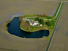 Farmhouse Oasis (otterdrivernw) Tags: farmland xseries xf1655mm xf1655 fujixt2 fujix fujifilm aerials moat pond farmhouse farm upperleftusa aerial washington mtvernon laconner valley skagit