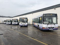 Nearly the end of a long era (ccoultas) Tags: wright floline l94 scania bus garage bramley leeds yorkshire west first