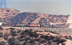 Southern Pacific freight train at Cajon Summit in 1992 (Tangled Bank) Tags: train trains railway railways railroad railroads 1990s 90s fallen flags old classic heritage vintage north american southern pacific sp cajon summit pass california espee locomotive engine diesel