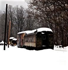 Foreshadowing (Professor Bop) Tags: railroad train boxcar passengercar coach railway track winter ice shelburnefalls olympuse5 professorbop drjazz mosca