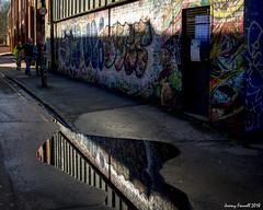 Surrey Street puddle (zolaczakl) Tags: bristol surreystreet stpauls puddle reflections figures graffiti streetart cityscenes streetscenes photographybyjeremyfennell nikond7100 nikonafsnikkor24120mmf4gedvrlens uk england urban