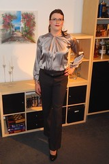 One more from my latest business look (Rikky_Satin) Tags: silk satin blouse top pants pumps crossdresser transvestite transgender office business fashion apparel