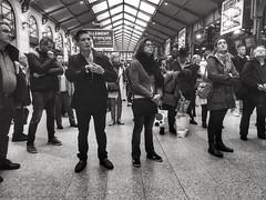 « Tellement français » - facing a transport strike (LUMEN SCRIPT) Tags: candid france paris strike crowd trainstation people streetphotography monochrome light shadow blackwhite silhouette lumenscript city urban french travel tourism postcard str