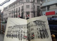 CABILDO street (Sketchbook0918) Tags: street scene pencil sketch sketchbook urban sketching kfc intramuros manila architecture building restaurant cars vehicles
