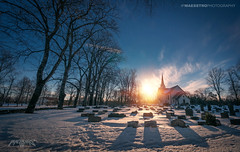 Askim, Norway 0341 - Church and Graveyard at Sunset (Sony NEX-6 & Canon 10-18) (IVAN MAESSTRO) Tags: church graveyard architecture snow winter ice grave god religion norway askim ipmaesstro hdr sony canon