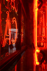Rarefied Neon (James-Palmer) Tags: london england uk britain capital central urban gb british english neon sign tube display light litup neonlight red brightred window people reflection mirrored abstract cafe drink bar advert arcade public