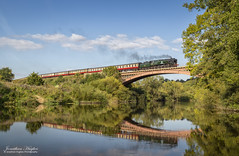 Cross-country steam (Nimbus20) Tags: southern steam bulleid battleofbritain loco river severn bridge iron sunshine reflection water flow smoke slow trees england
