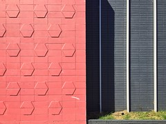 City Fabric (misterbigidea) Tags: urbanbeauty geometry shapes facade brick downtown pattern lines abstract city stripes blackandwhite pink design cinderblock streetview building wall