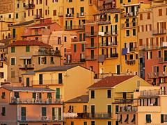 Manarola at Sunset (RobertLx) Tags: sunset red house italy cinqueterre manarola europe picturesque window building architecture city town facade nationalpark orange