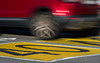 Slow down! (Moving Red, still Yellow) (OzzRod) Tags: pentax k1 smcpentaxk200mmf4 red car moving motion blur yellow sign road 40 singleinmay2018