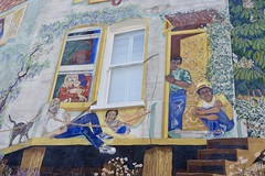 Detail, Glenelg Road mural, Brixton, London (Yekkes) Tags: unitedkingdom greatbritain london brixton glenelgroad mural painting art colour stories fun