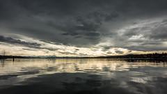 warm Föhn wind (hjuengst) Tags: spring frühling föhn föhnwind alps alpen starnbergersee lake clouds wolken reflection reflektionen spiegelung light licht sunset sonnenuntergang percha starnberg bavaria bayern