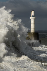 The South Breakwater (Les 24293998) Tags: aberdeen harbour lighthouse breakwater storm easterly water sea