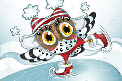 Татьяна Муха (ОльгаРуденко) Tags: owl winter cap striped red blue skates ride ice snow fur boots vector illustration decorative design greetingcard cold snowdrift icerink lake snowflake snowfall cute funny wing balance one leg athleteskater sport character cartoon style new year christmas skating animal bird card nature art white kid hat happy background holiday