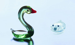 close encounter of the watery kind (HansHolt) Tags: close encounter watery kind water swan zwaan duck eend figurine glass glas crystal kristal swarovski animal reflection reflectie macro dof negativespace canon 6d 100mm canoneos6d canonef100mmf28macrousm