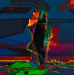 Abstract-faceless/Artist:Mistero Hifeng (Bamboo Barnes - Artist.Com) Tags: misterohifeng abstract faceless man woman blue green red black yellow vivid virtualart digitalart surreal bamboobarnes secondlife moon tricycle sky water reflection texture purple cloud