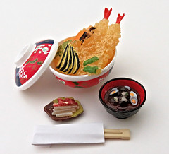 Enjoy Japanese Cooking # 4 (MurderWithMirrors) Tags: rement miniature food meal bowl plate chopsticks mwm lid rice misosoup tempura japanesecooking japanesecuisine samuraifood
