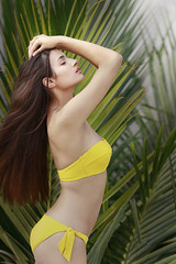 Tara Woltjes in Yellow (Anoop Negi) Tags: tara woltjes girl beauty sexy bangalore karnataka india bathing coconut palm frond beautiful hot slaying it anoop negi ezee123 photo photography bikini voluptuous