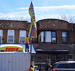 Super (Robert S. Photography) Tags: street sign flag store super people building sky brooklyn newyork boropark sony color dscwx150 iso100 2018 march yellow